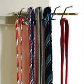Stationary tie rack.