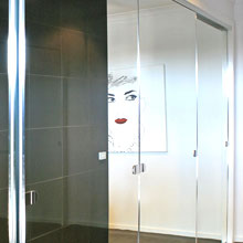 Mirrored glass sliding door.