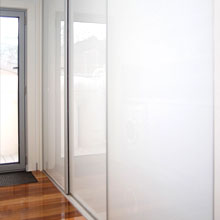 Clear glass panel sliding door.
