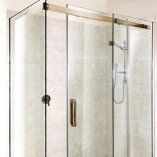 Semi frameless sliding shower screen.