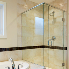 Frameless President shower screen.
