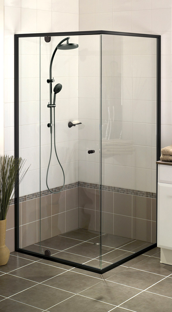 Semi Frame less black shower screen.