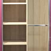 Walk in robe shelving and hanging space.