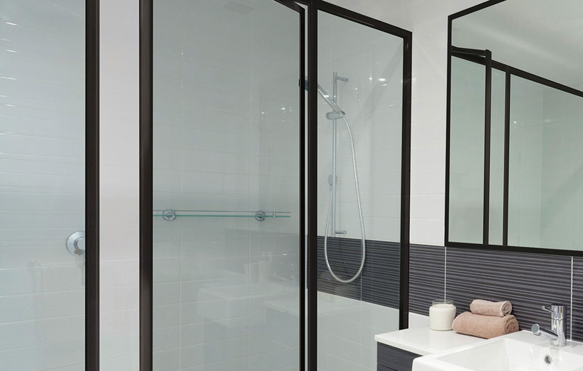 black shower screen